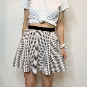 AQUA flared mini skirt white & black